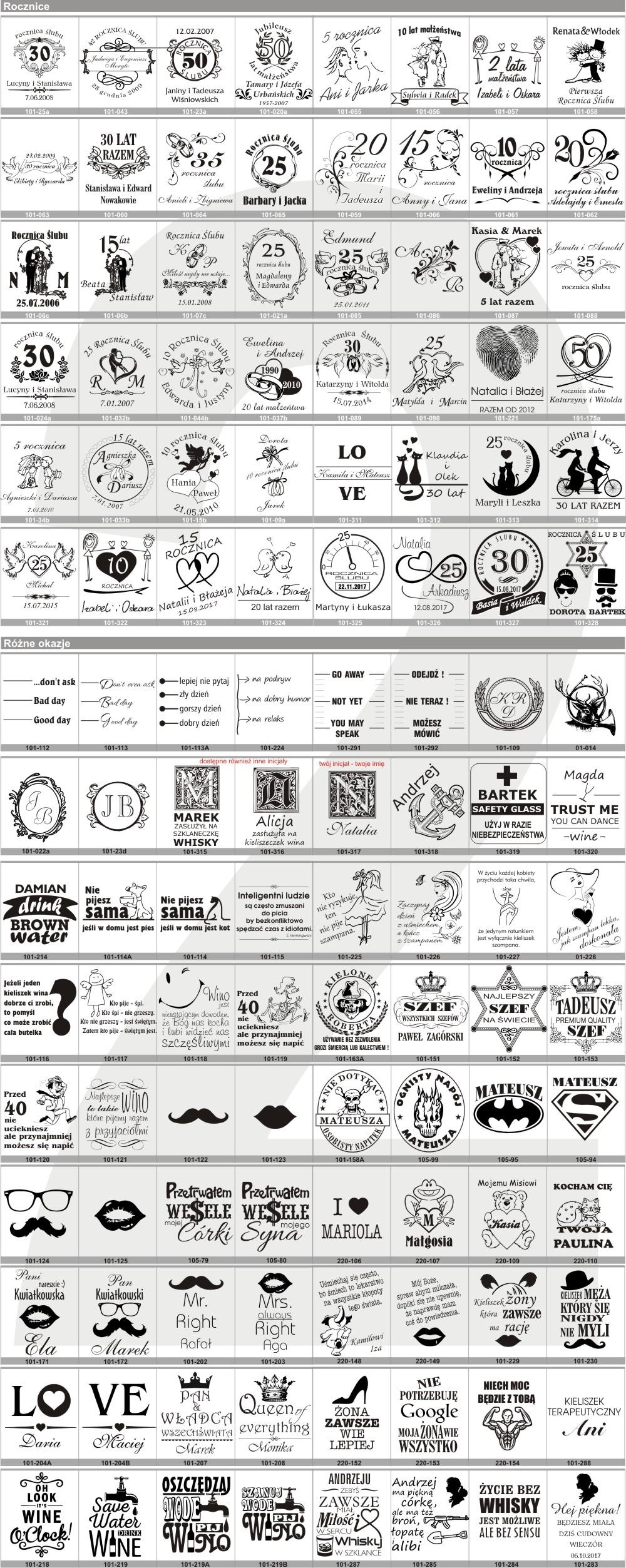 rysunki kieliszki rocznice i różne okazje